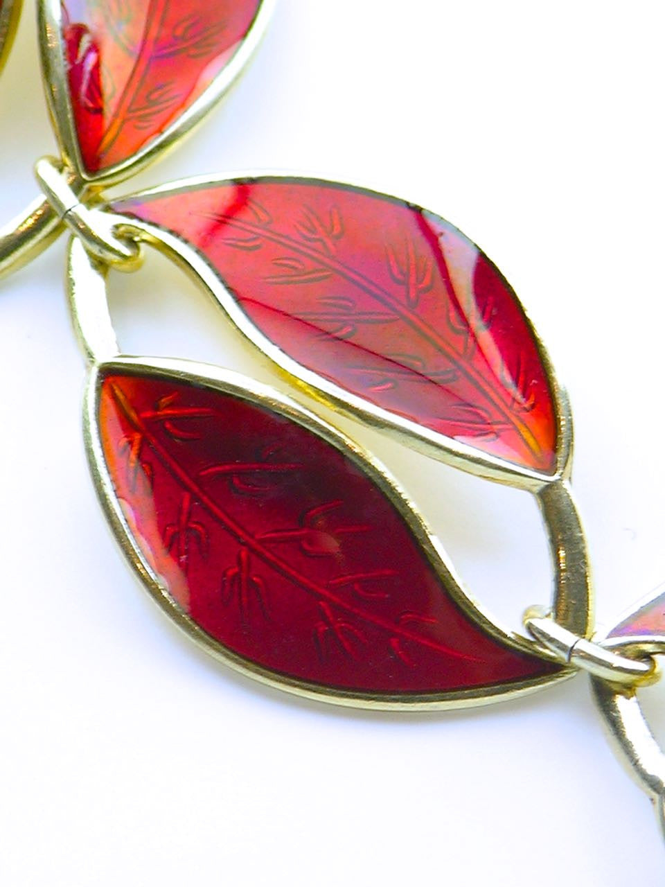 David Andersen solid silver and red enamel double leaf link necklace