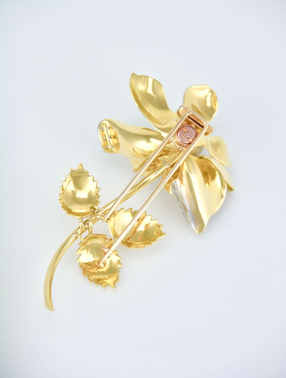 Vintage 18k Yellow Gold and Diamond Rose Brooch Pin 1960s