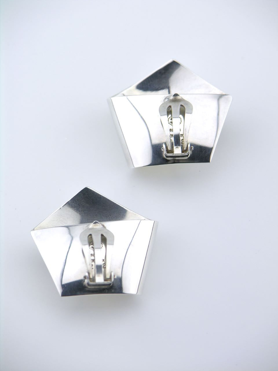 Georg Jensen silver pentagon clip earrings - design 202