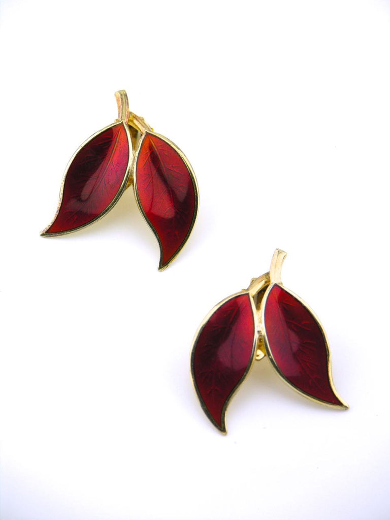 David Andersen solid silver and red enamel double leaf clip earrings