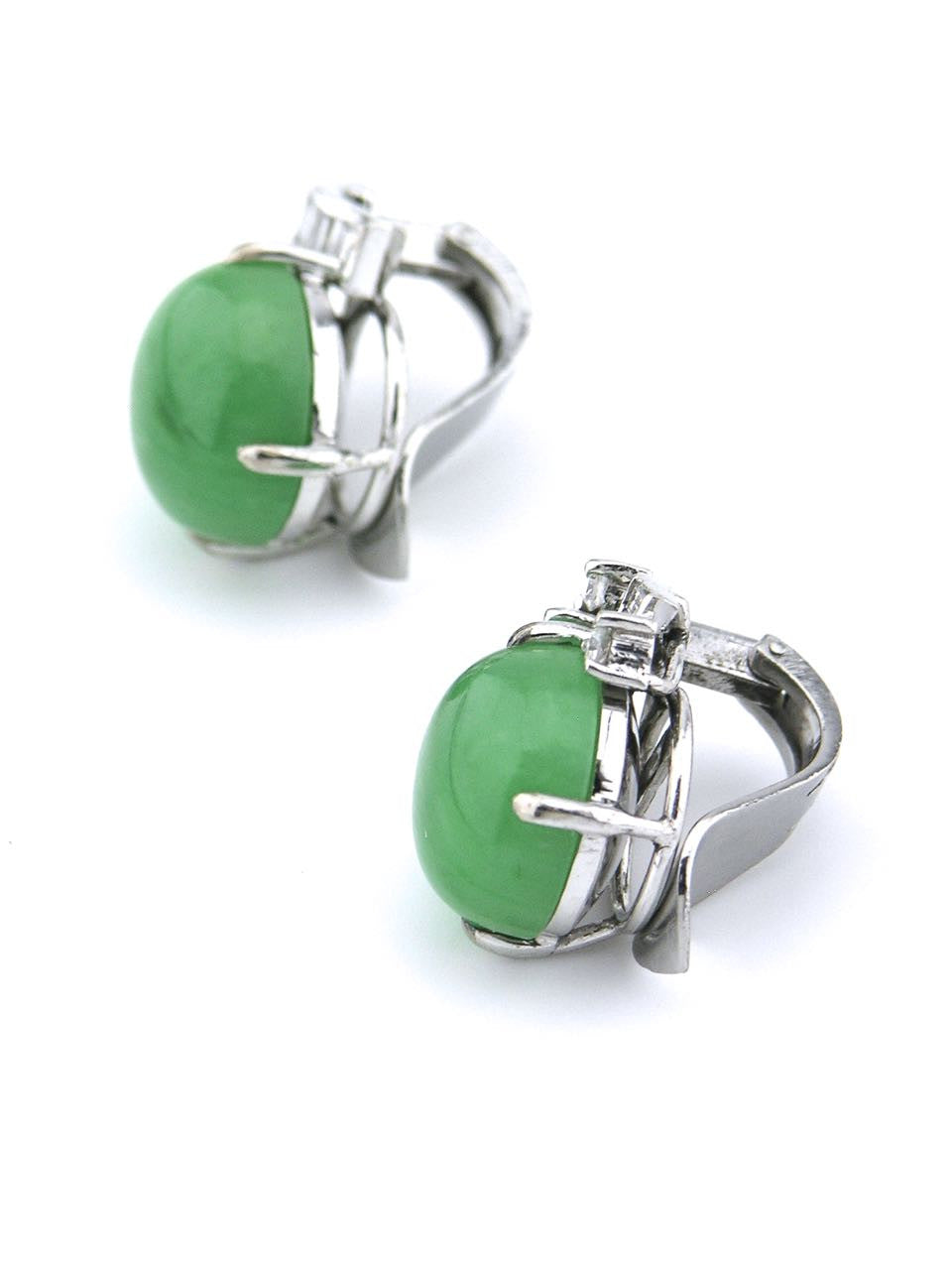 Retro Chinese jadite, diamond and 14k white gold clip earrings