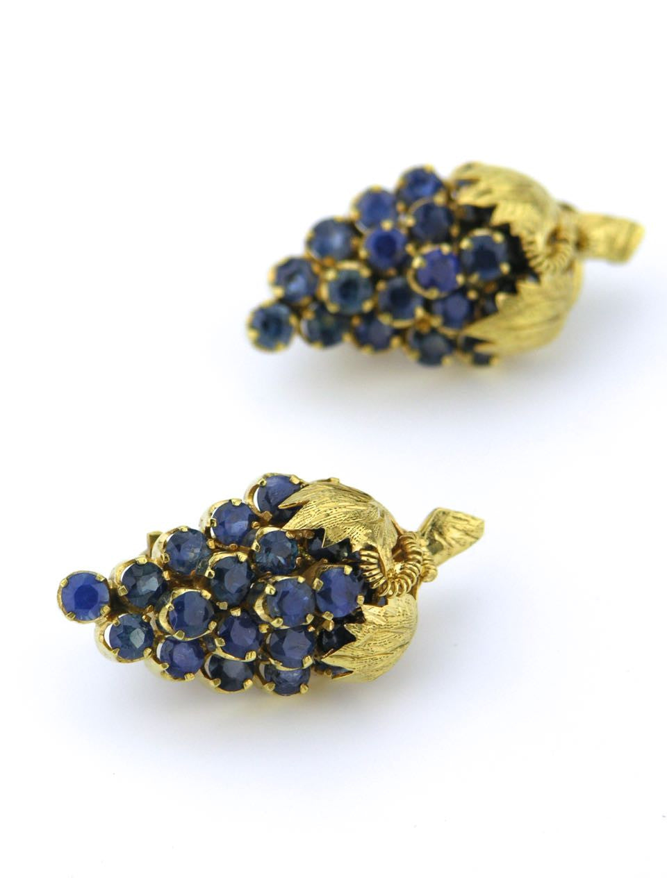 American 14ct yellow gold and blue sapphire clip earrings