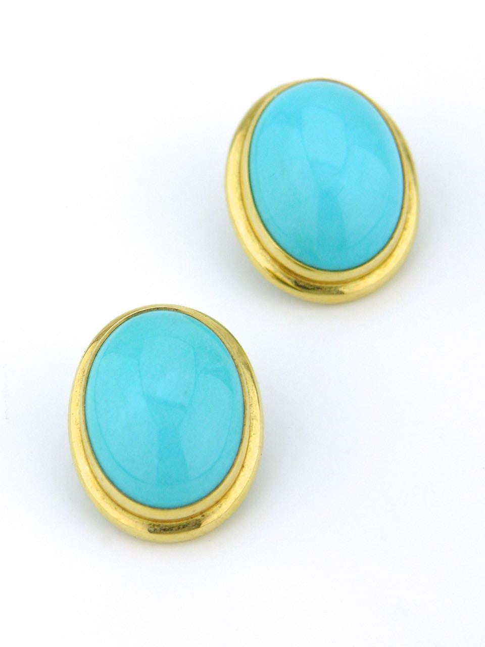 Tony White oval turquoise and gold clip earrings