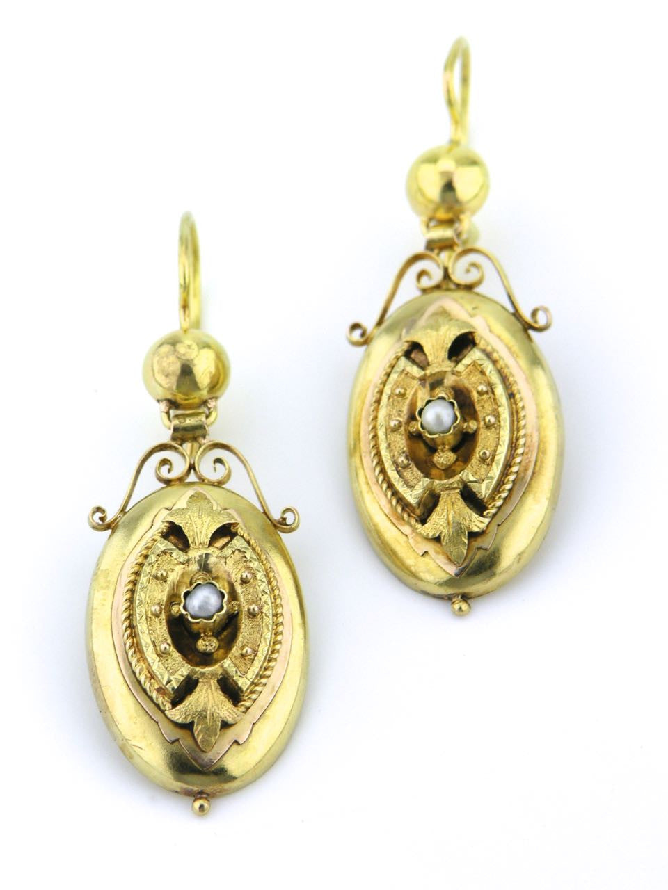 Austrian late 19th Century gold and pearl drop earrings