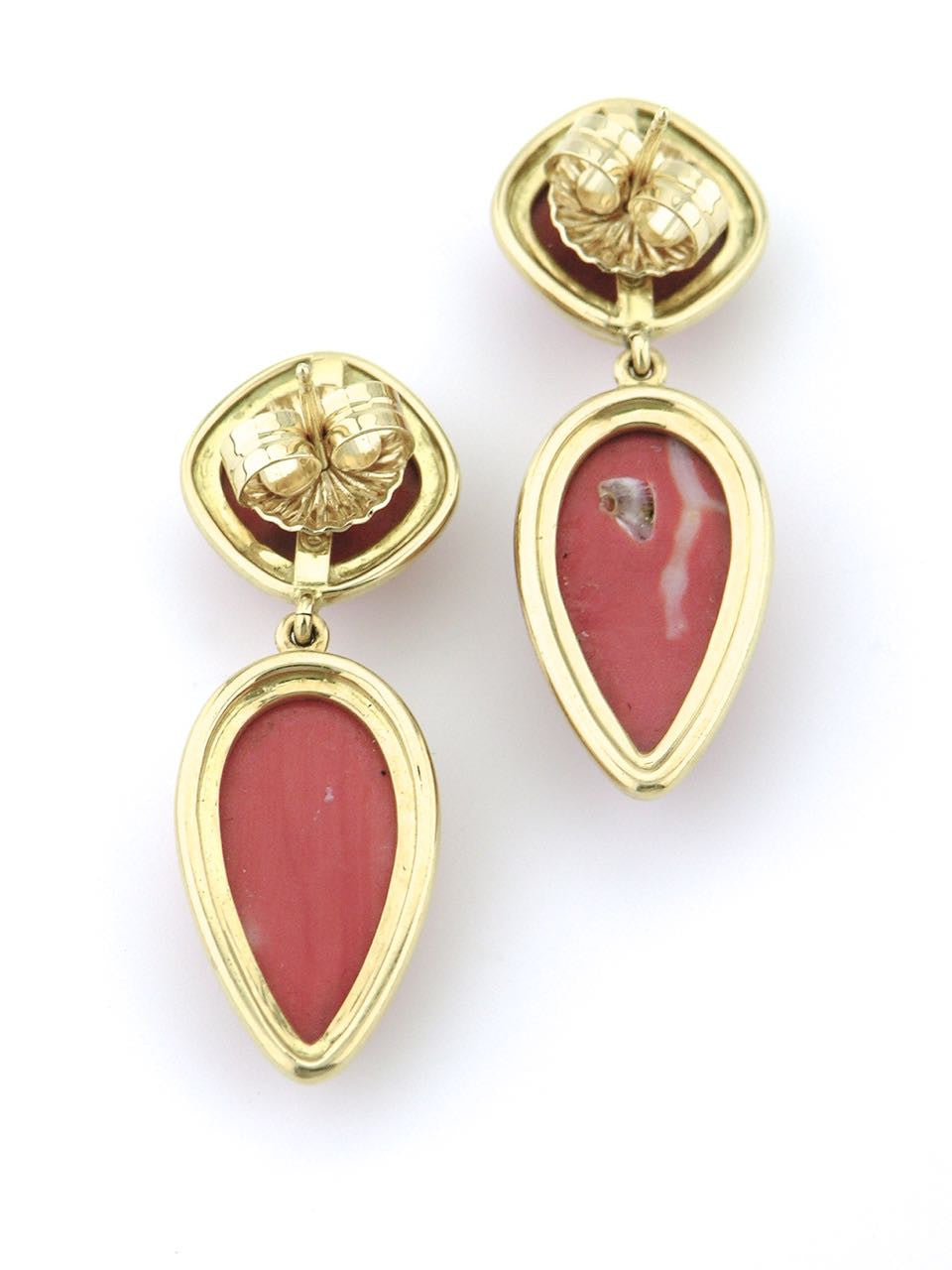 Tony White gold and coral drop earrings