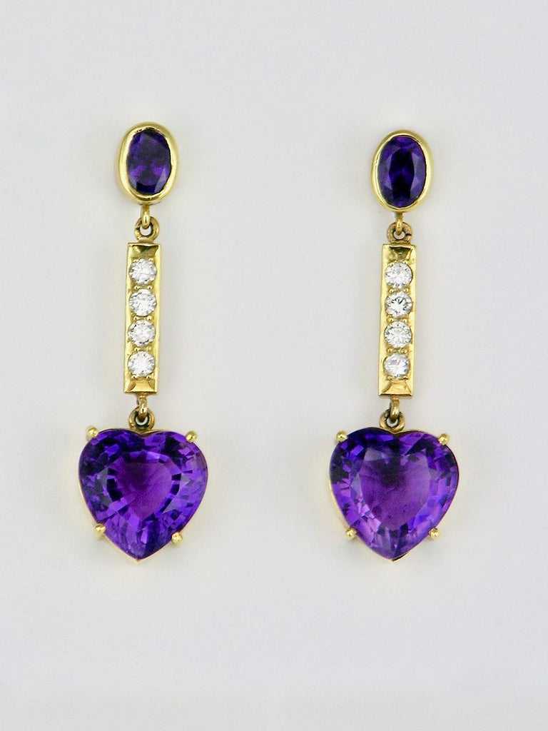 Vintage 18k Yellow Gold Purple Amethyst Heart and Diamond Drop Earrings