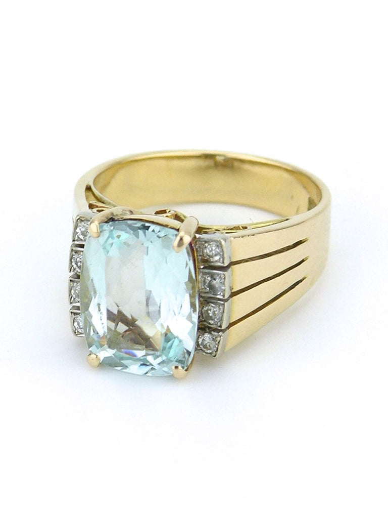 Retro American Aquamarine Diamond and 14k Yellow Gold Ring