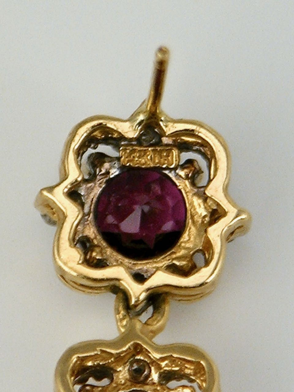Vintage 14k Gold Two Colour Garnet and Diamond Drop Earrings