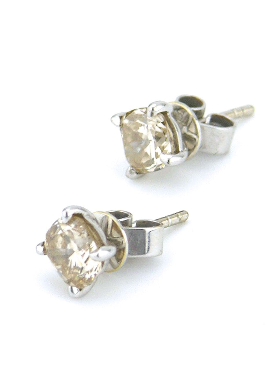 Champagne cushion cut diamond stud earrings
