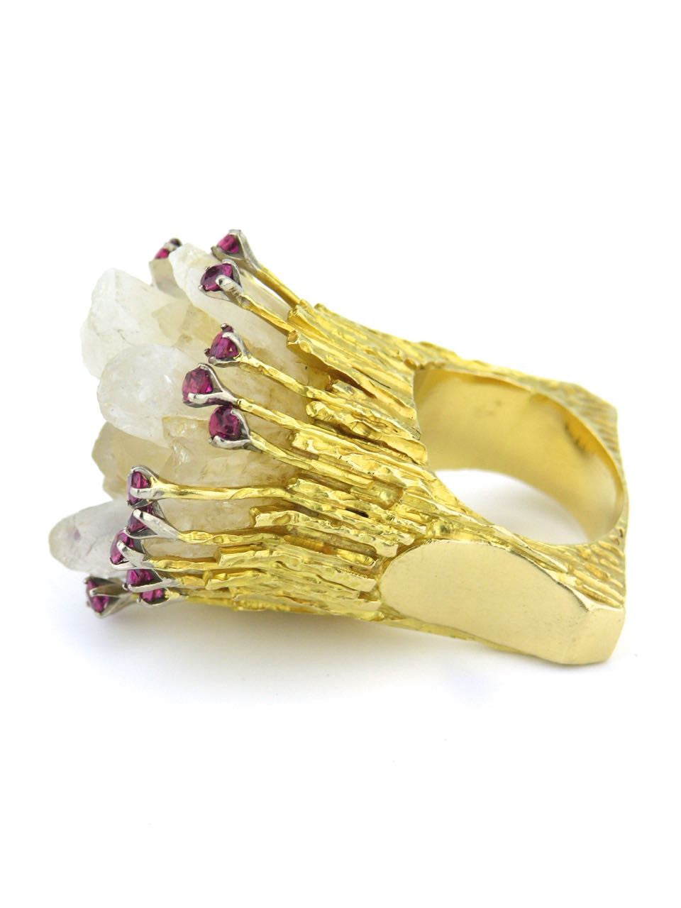Australian large gold, quartz and ruby organic 70's knuckleduster ring - Rob Bennett