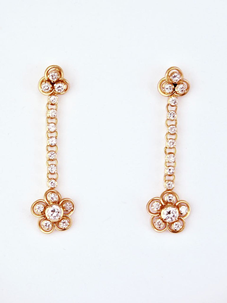 Vintage 18k Gold Diamond Cluster Drop Earrings