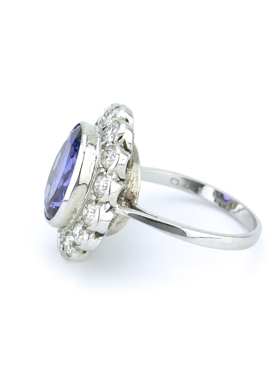 Tanzanite and diamond halo ring