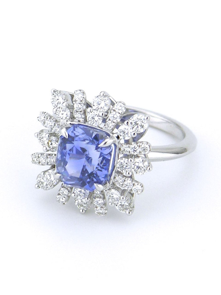 Ceylon sapphire and diamond platinum cluster ring
