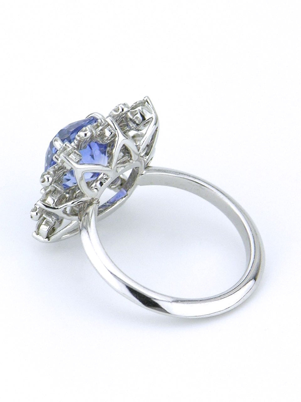 Vintage Ceylon Sapphire and Diamond Platinum Cluster Ring