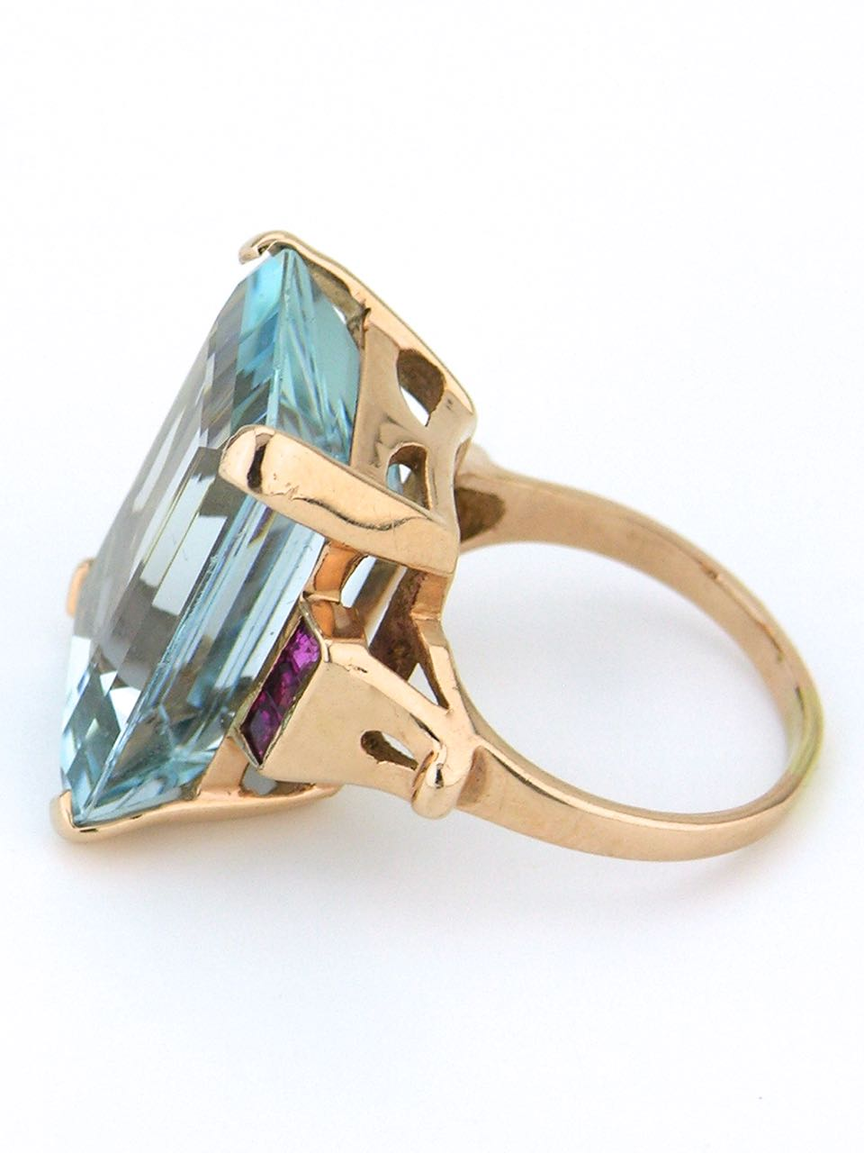 14k rose gold aquamarine and ruby cocktail ring 1950s