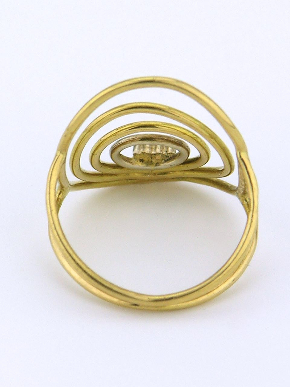 Italian modernist 18k yellow and white gold wire ring