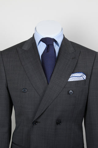 R&R Grey Sharkskin Double-Breasted