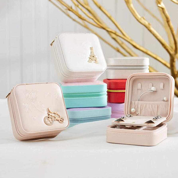 Mini PU Leather Jewelry Box Organizer Makeup Accessories Storage for Travel