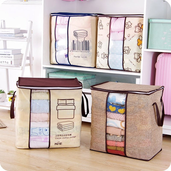Saicle Home Clothes Quilts Divider Organizer High Capacity Folding Bamboo Bags