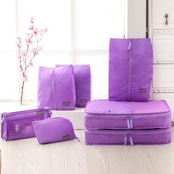 7PCS Waterproof Travel Storage Bag Clothes Underwear Shoes Cube Luggage Organizer Pouch