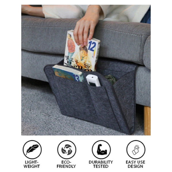 Bedside Felt Storage Organizer Bed Caddy with 5 Pocket Phone Remote Holder