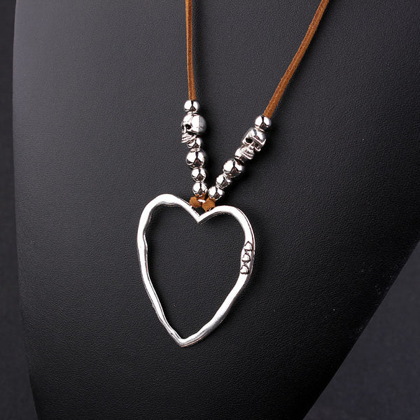 Women Heart Sweater Necklaces