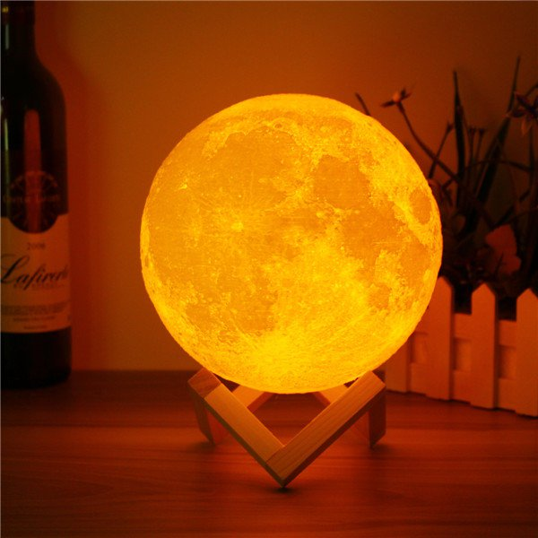 3D Printed Touch & Remote Control Switch LED Moon Night Light