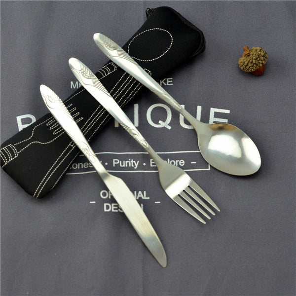 3pcs Stainless Steel Portable Travel Cutlery