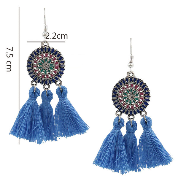 Womens Tassel  Alloy Round Earrings