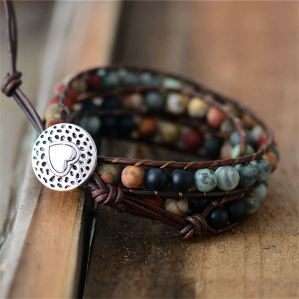 "Natural Semi-Precious Gemstones ""LOVE"" Leather Wrap Bracelet"