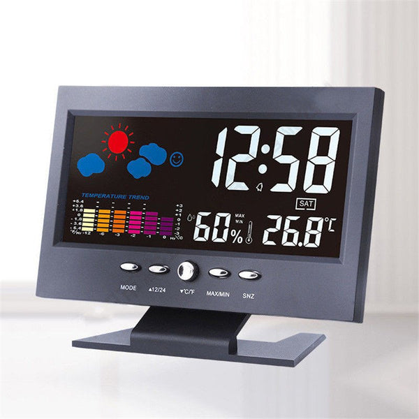 Digital Weather Forecast Temperature Humidity LCD Display Alarm Clock
