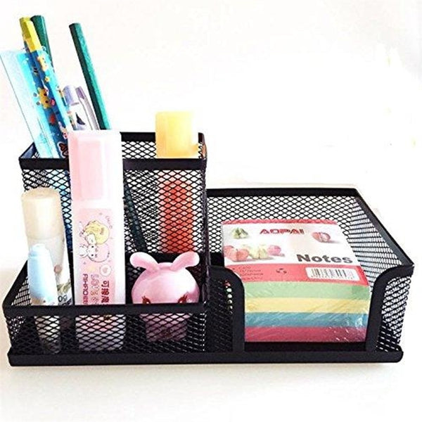 Desk Cosmetic Organizer Black Metal Mesh Office File Holder