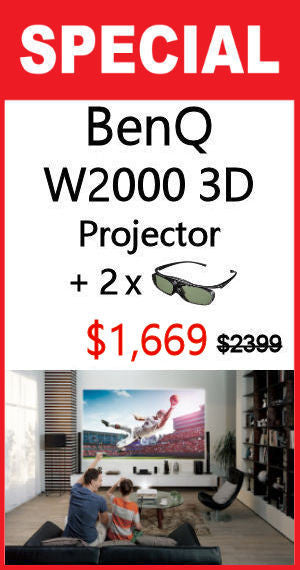 W2000 3D Rec 709 Home Cinema Projector + 2x 3D Glasses