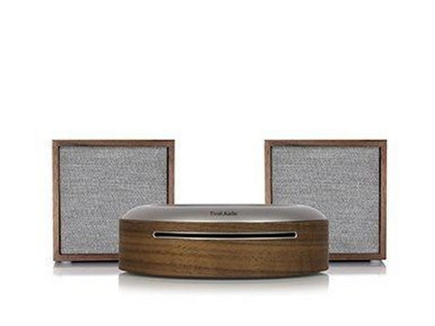 2 x ART CUBE Wireless Speakers with Model CD Player Walnut