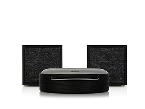 2 x ART CUBE Wireless Speakers with Model CD Player Black