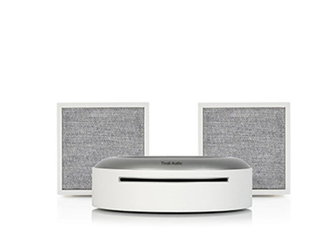2 x ART CUBE Wireless Speakers with Model CD Player White