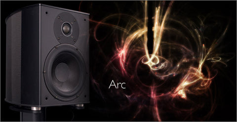 Arc Speakers PIANO BLACK with Stands - Ex Display