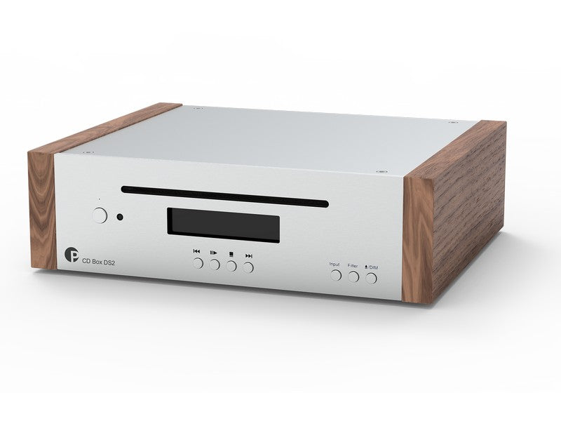 CD Box DS2 High-End Audio CD Player and DAC Silver with Walnut Side Panels