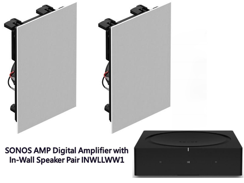 AMP Digital Amplifier with In-Wall Speaker Pair INWLLWW1