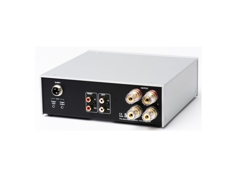 Amp Box DS2 Stereo Power Amplifier Silver with Walnut Side Panels