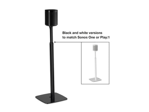 2 x Adjustable Floor Stands Black for Sonos One, One SL and Play:1