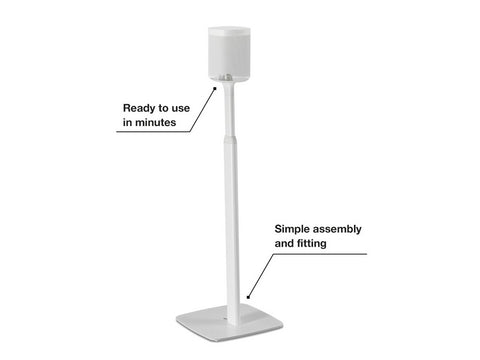 2 x Adjustable Floor Stands White for Sonos One, One SL and Play:1