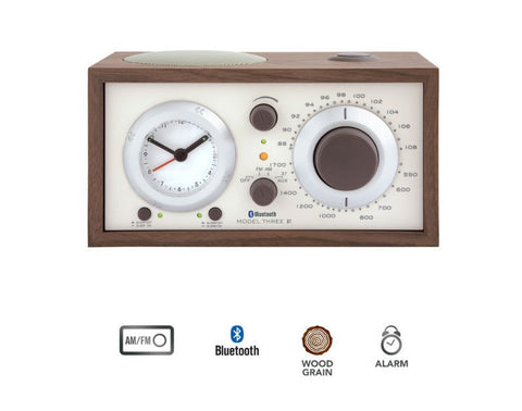Model Three BT AM/FM Table Radio/Alarm Clock with Bluetooth Walnut / Beige