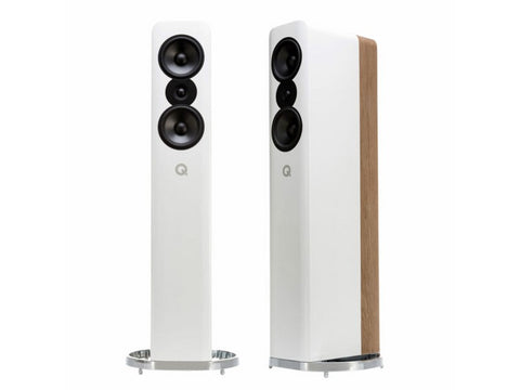 Concept 500 Floor-standing Speaker Pair Gloss White / Light Oak