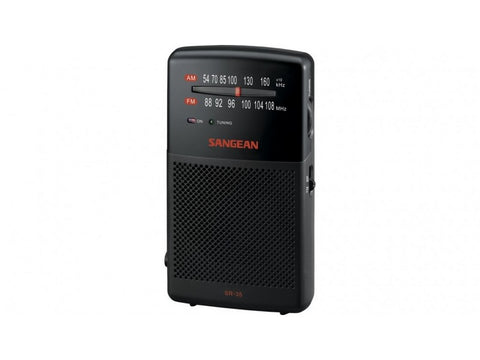 SR-35 AM/FM Pocket Radio with Built-in Speaker Black
