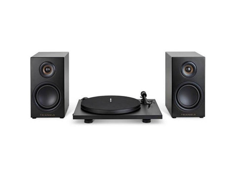 Elara Hi-Fi System LN01A Active Bookshelf Loudspeaker + Turntable Pack Matt Black