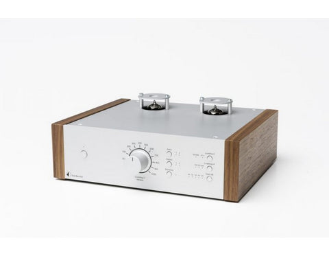 Tube Box DS2 Phono Pre-amplifier Silver with Walnut Side Panels
