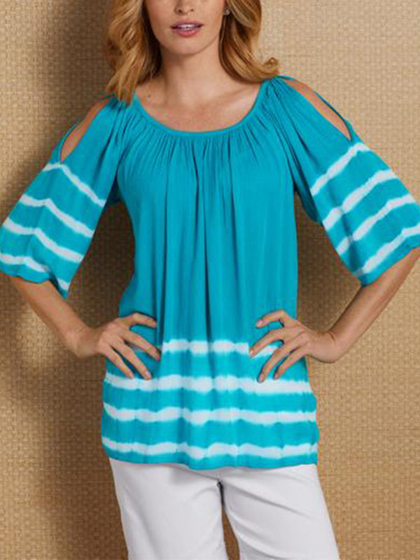 Cotton-Blend Short Sleeve Off Shoulder Shirts & Tops