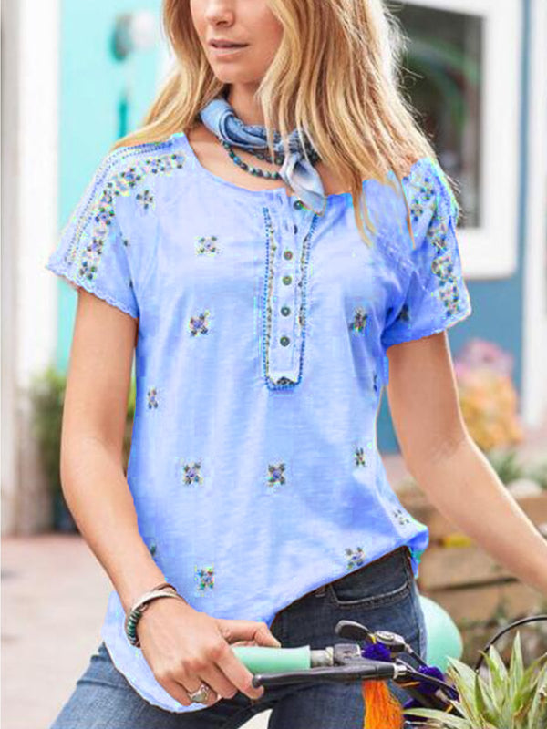 Buttoned Casual Short Sleeve Shirts & Tops
