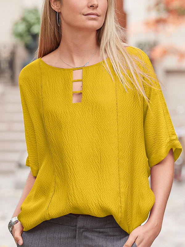 Women  Round Neck Half Sleeve Solid Color Casual Top